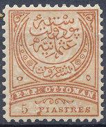 Stamp Turkey   5pi Mint Lot#120 - 1858-1921 Ottoman Empire