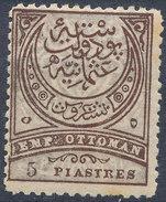 Stamp Turkey   5pi Mint Lot#126 - 1858-1921 Ottoman Empire