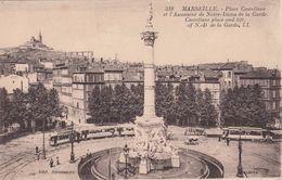 Cp , 13 , MARSEILLE , Place Castellane Et L'Ascenseur De Notre-Dame De La Garde - Canebière, Centro