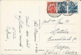CARTE POSTALE 1950 A DESTINATION DE LA SUISSE AVEC 3 TIMBRES - 1946-60: Marcofilia