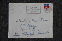Enveloppe Timbrée Envoyée De RUFFEC  à Destination De ST RAPHAEL - Marcophilie (Lettres)