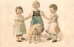 ENFANTS ET COCHON - Carte 1900 Illustrée. - Cochons