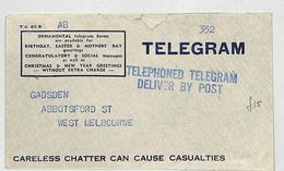 J213 1942 AUSTRALIA WW2 TELEGRAM Cover *Careless Chatter Can Cause Casualties* - Marcofilia