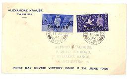U313 1946 GB Manchester *TANGIER* Overprints Morocco 4K GVI {samwells-covers}PTS - Cartas