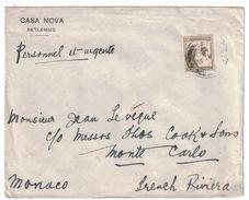 1931 PALESTINE - LETTRE AFFRANCHIE 20 De BETHLEEM Pour MONTE CARLO MONACO ENTETE CASA NOVA BETLEMME FRENCH RIVIERA - Palestina