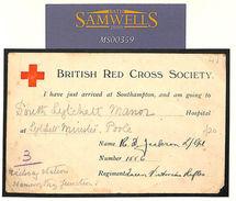 MS359 1915 GB HANTS WW1 Red Cross Card *Just Arrived Southampton* POOLE Hospital - Cartas