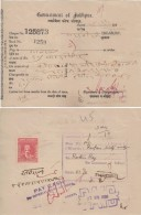 JODHPUR State India 1939  State  Encashed Treasury Cheque  1A  Revenue Used # 96512  Inde  Indien - Cheques & Traveler's Cheques