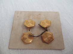 Paire De Boutons De Manchette/Fantaisie/à Chaînettes /Dorés /Années 50     BIJ42 - Jewels & Clocks