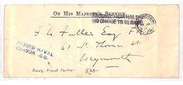 BA158 1915 GB WW1 NAVAL OFFICIAL London Rare *Passed Naval Censor GG* OHMS Cover - Cartas