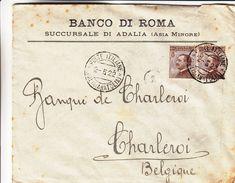 Italie - Lettre De 1922 ° - Oblit Adalia Anatolia - Exp Vers Charleroi En Belgique - Avec Vignette De Fermeture - Rare - 1900-44 Vittorio Emanuele III