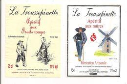 """2 Etiquettes  """" La Troussepinette """" - Apéritif Aux Fruits Rouges Et Mûres - Illustration Moulin à Vent Et Vendéens - - Windmills"""