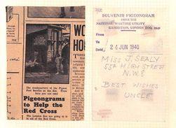 DBAp203 1940 GB EXHIBITIONS National Wartime Utility PIGEONGRAM/London Zoo - Marcofilia