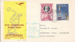 Vatican - Lettre De 1960 - Vol Rome Frankfurt Hamburg - Ccachet Du Village Olympique - Cachet De Frankfurt Flughafen - Vatican