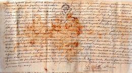 François RISPAL Habitant De PARISOT EN ROUERGUE,contrat Avec JACQUES DELPECH.1785.parchemin:34 X 16 Cm.Taché - Historical Documents