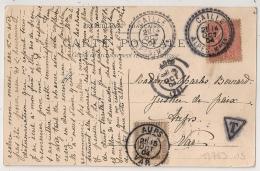Facteur Boitier CAILLE Alpes Maritimes, TAXE 10 AUPS Var. 1904 - Marcophilie (Lettres)