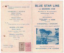 1938 TURQUIE - RARE PROGRAMME De La BLUE STAR LINE (WAGONS LITS COOK) MEDITERRANEAN CRUISE ARANDORA STAR TIMBRES FISCAUX - 1934-39 Sandjak Alexandrette & Hatay