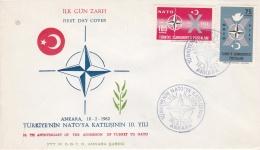 Turkey FDC 1962 1oth Anniversary Of The Admission Of Turkey To Nato (DD5-21) - Militaria