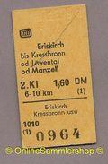 Pappfahrkarte -  DB -->   Eriskirch - Kressbronn Od Löwental Od Manzell 1979 - Europe