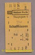 Pappfahrkarte -  DB -->   Thayngen 1 - Schaffhausen (Halber Preis) 1994 - Europe