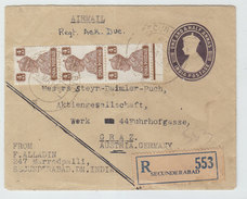 India/Austria SECUNDERABAD AIRMAIL REGISTERED COVER 1949 - 1947-49 Dominion