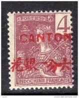 Canton N° 35 XX Surcharge Carmin : 4 C. Lilas-brun Sur Gris Sans Charnière, Gomme Tropicale Sinon TB - Canton (1901-1922)