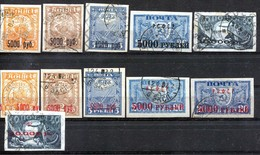 Russia , SG 234 - 43 ; 1922 , Definitives Surch , Complete Set With Size & Wmk Varieties , Both Used And MH - 1917-1923 Republic & Soviet Republic