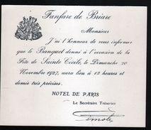 45, Briare, Carton D'information Sur Le Banquet De La Sainte Cécile 1927 - Musique & Instruments