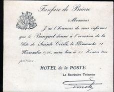 45, Briare, Carton D'information Sur Le Banquet De La Sainte Cécile 1926 - Non Classés
