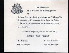 45, Briare, Carton D'invitation De La Sainte Cécile 1927 - Non Classés