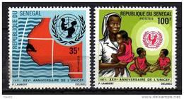 Sénégal N° 356 / 57 X 25ème Anniversaire De L´U.N.I.C.E.F. La Paire  Trace De Charnière, Sinon TB - Senegal (1960-...)