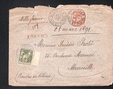 Lettre De Saint Servan ( Ille Et Vilaine)chargée, De1891 Pour Marseille - 1898-1900 Sage (Type III)