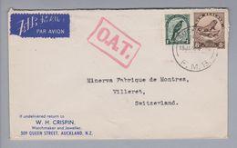New Zealand 1945-01-18 Auckland O.A.T. Luftpostbrief Nach Villeret CH - 1907-1947 Dominion