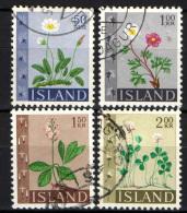 ISLANDA - 1964 - SERIE FIORI: DRYADE, RANUNCOLO DEI GHIACCI, MENIANTA, TRIFOGLIO - USATI - 1944-... Republik