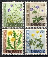 ISLANDA - 1960 - SERIE FIORI: CAMPANULA, GERANIO, DENTI DI LEONE, RANUNCOLO - USATI - 1944-... Republik
