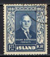 ISLANDA - 1952 -71° COMPLEANNO DEL PRESIDENTE SVEINN BJORNSSON - USATO - Usati