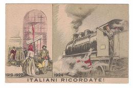 """CARTOLINA POSTALE """"ITALIANI RICORDATE"""" ASSOCIAZIONE NAZIONALE FASCISTI FERROVIERI  ILLUSTRATORE MARCELLO DUDOVICH - Evènements"""