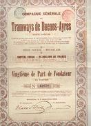 Action Ancienne - Compagnie Générale De Tramways De Buenos-Ayres - Titre De 1909 - Chemin De Fer & Tramway