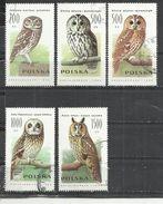 POLAND 1990 - OWLS - LOT OF 5 DIFFERENT - OBLITERE USED GESTEMPELT USADO - Owls