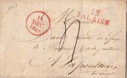 18007# CALVADOS 13 FALAISE LETTRE Datée De 1828 32*12mm ROUGE Pour LA POULTIERE VERNEUIL EURE - 1801-1848: Voorlopers XIX