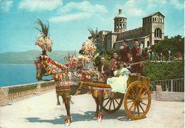 Tindari Fraz. Di Patti (Messina) Carretto Siciliano, Charrette Sicilienne, Sicilian Cart - Chiesa Sul Fondo - Costumes