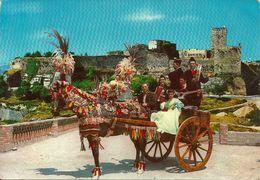 Enna (Sicilia) Carretto Siciliano, Charrette Sicilienne, Sicilian Cart - Castello Lombardia Sul Fondo - Costumes