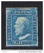 SICILIA:  1859  EFFIGIE  -  2 Gr. AZZURRO  S.G. -  I°  TAVOLA  -  IMPERCETTIBILE  SPELLATURA  RETRO  -  SASS. 6 - Sicile