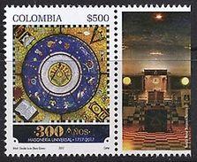 103 COLOMBIE 2017 - 300 Ans Le Temple - Masonic Franc Maconnerie Freemasonry Freimaurerei, Neuf ** (MNH) - Franc-Maçonnerie
