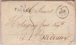 TARBES (63) - 1828-11-05 - Port Dû - MP 2 Lignes 30x12 - 1801-1848: Précurseurs XIX