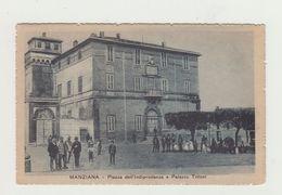 MANZIANA - PIAZZA INDIPENDENZA E PALAZZO TITTONI ANIMATA - VIAGGIATA 1918 - ITALY POSTCARD - Roma
