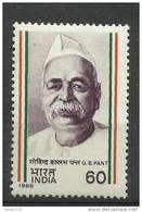 India, 1988, Birth Centenary Of Pundit Govind Vallabh Pant, Political Leader,   MNH,  (**) - Inde