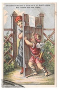 Victorian Trade Card D M Yost & Co Cherub Barring Lady From Entrance Kid Gloves - Trade Cards