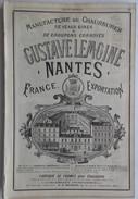 PUB 1885 - Chaussures à Nantes (dessin Usine Vapeur) & Le Mans 72 (dessin Magasin Exposition) - Publicités