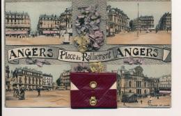 CPA 49 ANGERS Rare Carte Mutli-vues Sur La Carte Et Dans La Pochette Place Du Ralliement Colorisée - Angers