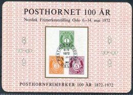 1972 Norway POSTHORNET Stamp Exhibition Souvenir Sheet. - Blocks & Sheetlets